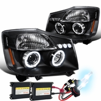 HID Xenon + 04-14 Nissan Titan / 04-07 Armada Dual Halo DRL LED Projector Headlights - Black