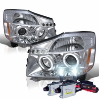 HID Xenon + 04-14 Nissan Titan / 04-07 Armada Dual Halo DRL LED Projector Headlights - Chrome