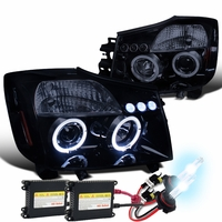 HID Xenon + 04-14 Nissan Titan / 04-07 Armada Dual Halo DRL LED Projector Headlights - Gloss Black