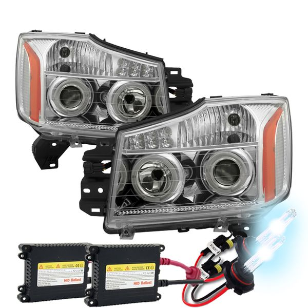 HID Xenon + 04-14 Nissan Titan / 04-07 Armada Angel Eye Halo & LED Projector Headlights - Chrome