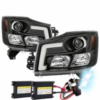 HID Xenon + 04-15 Nissan Titan / 04-07 Armada LED DRL Tube Projector Headlights - Black
