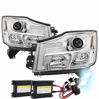 HID Xenon + 04-15 Nissan Titan / 04-07 Armada LED DRL Tube Projector Headlights - Chrome