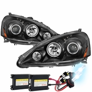 HID Xenon + 05-06 Acura RSX LED DRL & CCFL Halo Projector Headlights - Black