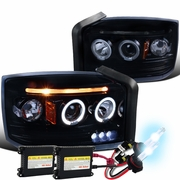 HID Xenon + 05-07 Dodge Dakota Dual Angel Eye Halo & LED Strip Projector Headlights - Chrome