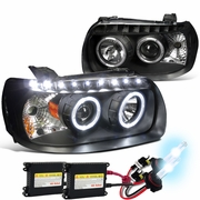 HID Xenon + 05-07 Ford Escape LED Halo & LED DRL Projector Headlights - Black
