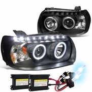 HID Combo 05-07 Ford Escape LED Halo & LED DRL Projector Headlights - Black