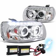 HID Xenon + 05-07 Ford Escape LED Halo & LED DRL Projector Headlights - Chrome