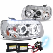 HID Combo 05-07 Ford Escape LED Halo & LED DRL Projector Headlights - Chrome