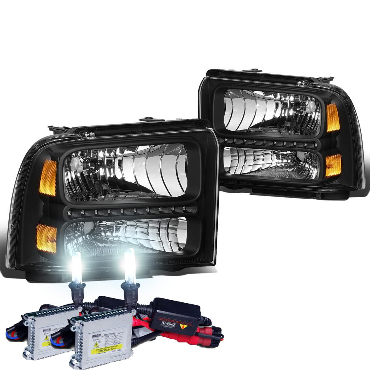 Ford 05-07 F250 F350 F450 SuperDuty Black Housing Replacement Headlights