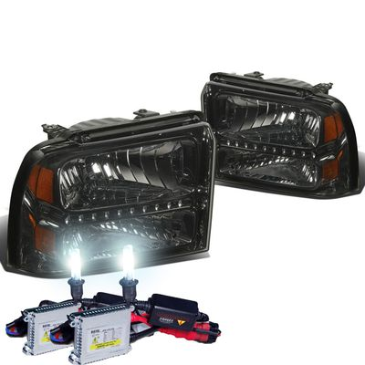 HID Xenon + 05-07 Ford F250 F350 Super Duty LED Crystal Headlights - Smoked