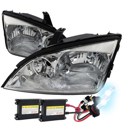 HID Xenon + 05-07 Ford Focus Replacement Crystal Headlights - Chrome