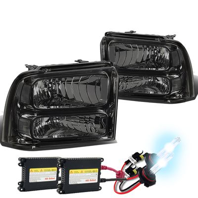 HID Xenon + 05-07 Ford Super Duty OE Style Headlight Lamp Assembly (Chrome Housing) - 1 Gen F-250/F-350/F-450/F-550