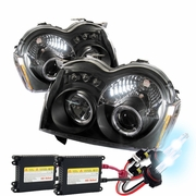 HID Xenon + 05-07 Jeep Grand Cherokee Angel Eye Halo LED Projector Headlights - Black