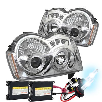 HID Xenon + 05-07 Jeep Grand Cherokee Angel Eye Halo LED Projector Headlights - Chrome