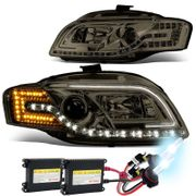 HID Xenon + 05-08 Audi A4 / 06-08 S4 [Halogen Model] LED DRL / Signal Projector Headlights - Smoked