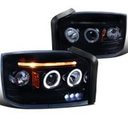 05-07 Dodge Dakota Dual Angel Eye Halo & LED Strip Projector Headlights - Gloss Black