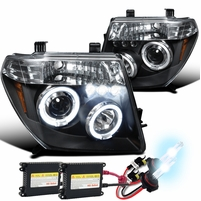 HID Xenon + 05-08 Nissan Frontier / 05-07 Pathfinder  Halo LED Projector Headlights - Black
