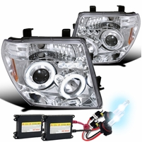 HID Xenon + 05-08 Nissan Frontier / 05-07 Pathfinder  Halo LED Projector Headlights - Chrome