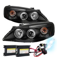 HID Xenon + 05-10 Pontiac G6 DRL LED Strip Projector Headlights - Black