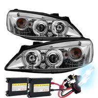 HID Xenon + 05-10 Pontiac G6 DRL LED Strip Projector Headlights - Chrome