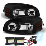 HID Xenon + 05-09 Chevy Uplander Crystal Replacement Headlights - Black
