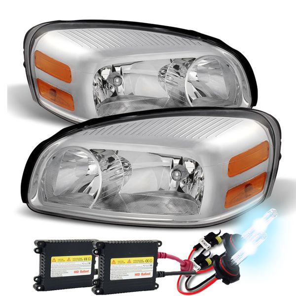 HID Xenon + 05-09 Chevy Uplander Crystal Replacement Headlights - Chrome