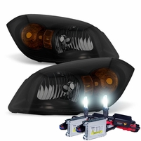 HID Xenon + 05-10 Chevy Cobalt / 07-10 Pontiac G5 Crystal Replacement Headlights - Black Smoked