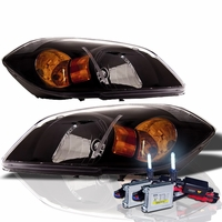 HID Xenon + 05-10 Chevy Cobalt Euro Crystal Headlights - Black