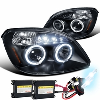HID Combo 05-10 Chevy Cobalt / Pursuit / G5 Angel Eye Halo LED Projector Headlights - Black