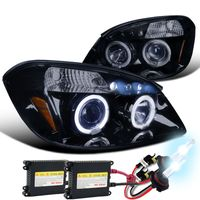 HID Xenon + 05-10 Chevy Cobalt / Pursuit / G5 Angel Eye Halo LED Projector Headlights - Gloss Black