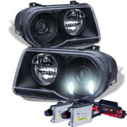 HID Xenon + 05-10 Chrysler 300C Replacement Projector Headlights - Black