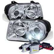 HID Xenon + 05-10 Chrysler 300C Replacement Projector Headlights - Chrome