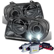 HID Xenon + 05-10 Chrysler 300C Replacement Projector Headlights - Smoked