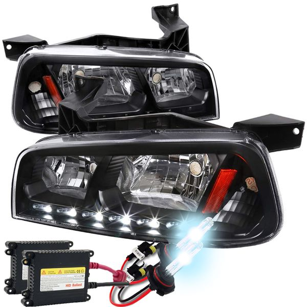 HID Xenon + 2006-10 Dodge Charger SMD LED DRL 1PC Headlights w/ Corner - Black