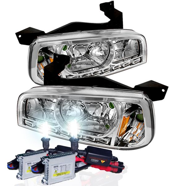HID Xenon + 05-10 Dodge Charger 1-Piece LED DRL Crystal Headlights - Chrome