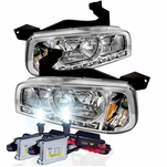 HID Combo 05-10 Dodge Charger 1-Piece LED DRL Crystal Headlights - Chrome