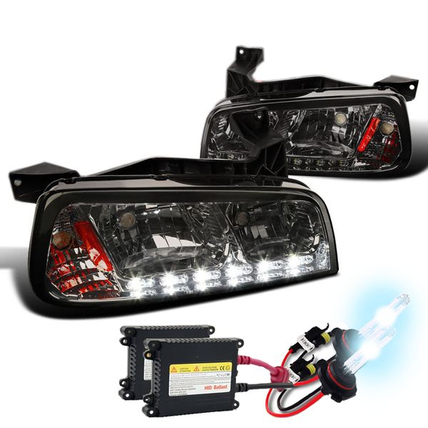 HID Combo 2006-10 Dodge Charger SMD LED DRL 1PC Headlights w/ Corner - Smoked