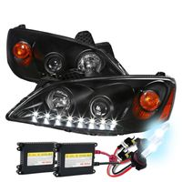 HID Xenon + 05-10 Pontiac G6 LED DRL Projector Headlights - Black