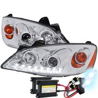 HID Xenon + 05-10 Pontiac G6 LED DRL Projector Headlights - Chrome
