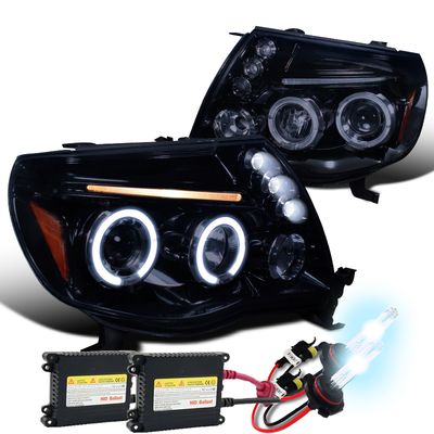 HID Xenon + 05-11 Toyota Tacoma Angel Eye Halo & LED Projector Headlights - Gloss Black