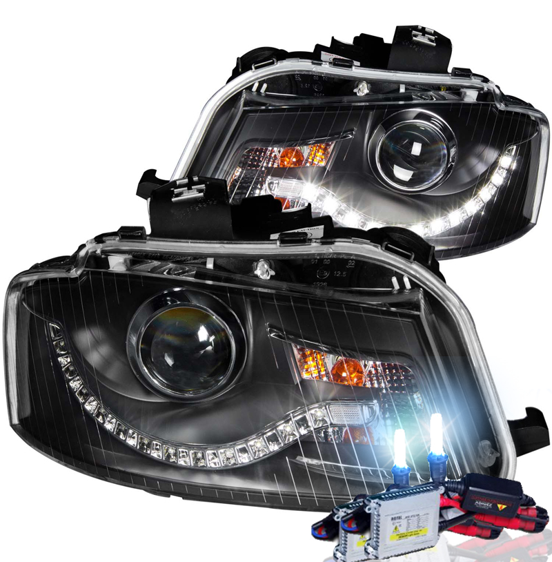 HID Xenon + 06-08 Audi A3 R8 Style LED DRL Projector