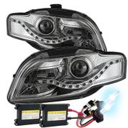 HID Xenon + 06-08 Audi A4 [Halogen Model Only] LED DRL Projector Headlights - Chrome