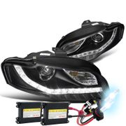 HID Xenon + 06-08 Audi A4 [Halogen Model Only] LED DRL Projector Headlights - Black