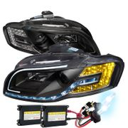 HID Xenon + 06-08 Audi A4 [Halogen Model Only] LED Signal & DRL Projector Headlights - Black
