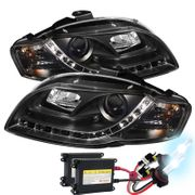 HID Xenon + 06-08 Audi A4 / S4 [Halogen Model Only] LED DRL R8 Style Projector Headlights - Black