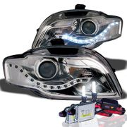 HID Xenon + 06-08 Audi A4 / S4 / RS4 (Halogen Model) R8 Style LED DRL Projector Headlights - Chrome
