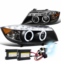 HID Combo 06-08 BMW E90 4D Halo LED DRL Projector Headlights Black