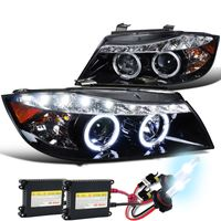 HID Xenon + 06-08 BMW E90 4D Halo LED DRL Projector Headlights Gloss Black