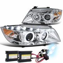 HID Combo 06-08 BMW E90 4D Halo LED DRL Projector Headlights Chrome