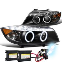 HID Xenon + 06-08 BMW E90 4D Halo LED DRL Projector Headlights Black
